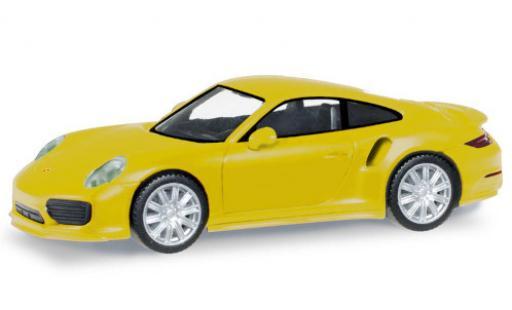 Porsche 911 1/87 Herpa Turbo jaune miniature