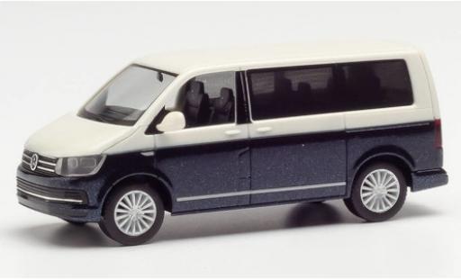 Volkswagen T6 1/87 Herpa blanche/metallise bleue miniature
