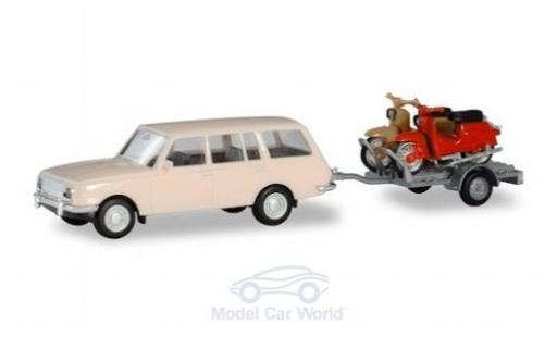 Wartburg 353 1/87 Herpa Tourist mit Anhänger und 2x Simson miniature