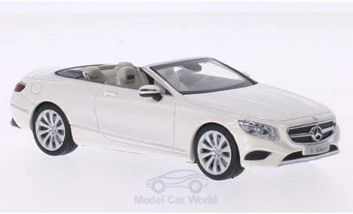 Mercedes Classe S 1/43 iScale Cabriolet métallisé blanche miniature
