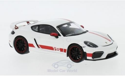 Porsche Cayman 1/43 Minichamps 718 GT4 Sports Cup Edition blanche/rouge 2019