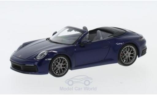 Porsche 911 1/43 I Minichamps (992) Carrera 4S Cabriolet métallisé bleue 2019 miniature
