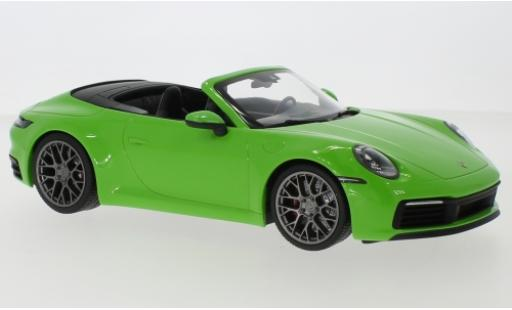 Porsche 992 4S 1/18 Minichamps 911  Carrera Cabriolet metallise green 2019 diecast model cars