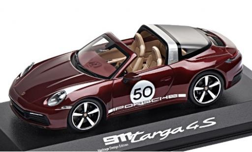 Porsche 911 1/43 I Minichamps Targa 4S metallise rouge/Dekor No.50 Heritage Design Edition miniature