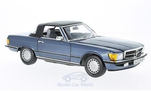 Mercedes 300 SL 1/18 Norev SL (R107) metallic-azul 1985 miniatura