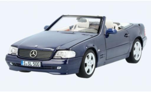 Mercedes 500 1/18 I Norev SL (R129) metallise bleue 1998 avec Softtop et Hardtop miniature