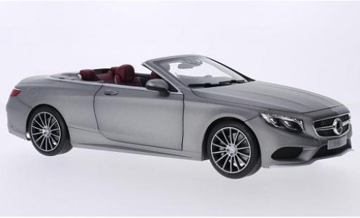 Mercedes Classe S 1/18 I Norev Cabriolet (A127) grise Softtop couché avec miniature