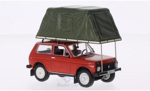 Lada Niva 1/18 IST Models mettalic rot 1981 mit Zeltaufbau auf Dach modellautos