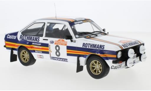 Ford Escort 1/18 IXO MKII RS 1800 No.8 Rothmans Rallye WM Rally San Remo 1980 H.Mikkola/A.Hertz miniature