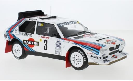 Lancia Delta 1/18 IXO S4 No.3 Martini Racing Martini Rally Monte Carlo 1986 M.Alen/I.Kivimäki coche miniatura