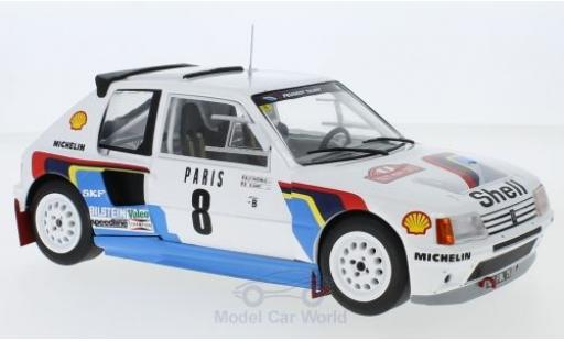 Peugeot 205 1/18 IXO T16 No.8 Rallye WM Rallye Monte Carlo 1985 B.Saby/J-F.Fauchille miniature