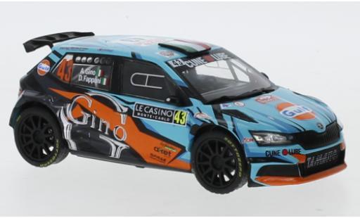 Skoda Fabia 1/43 IXO R5 EVO No.43 Rallye WM Rallye Monte-Carlo 2020 A.Gino/D. Fappani miniature