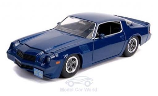 Chevrolet Camaro 1/24 Jada Toys Toys Toys Toys Z28 blue Stranger Things 1979 mit Sammelmünze diecast model cars