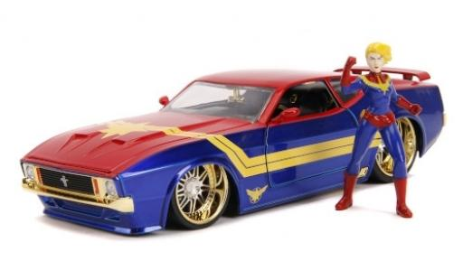 Ford Mustang 1/24 Jada Mach 1 bleue/rouge Marvel Avengers - Captain Marvel 1973 mit Figur