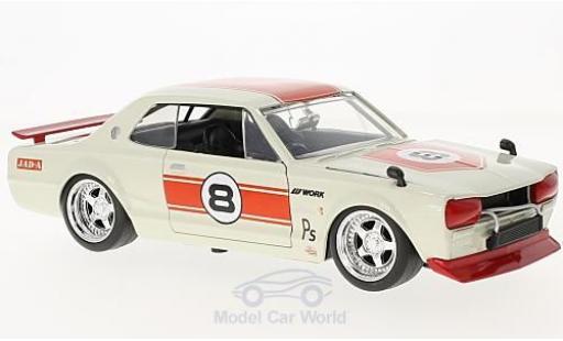 Nissan Skyline 1/24 Jada 2000 GT-R (KPGC 10) blanche/rouge RHD 1971 miniature
