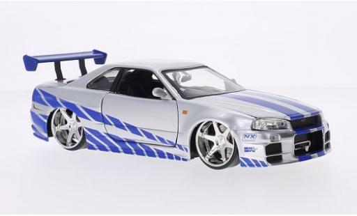 Nissan Skyline 1/24 Jada GT-R (R34) Tuning silber/Dekor RHD Fast & Furious 2002 tuning modellautos