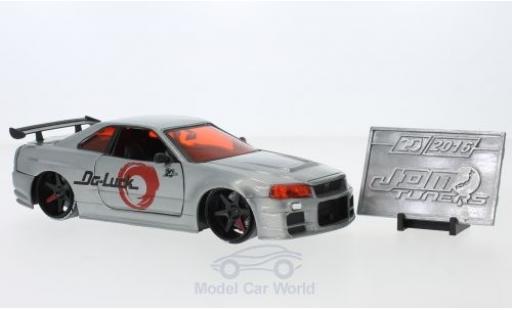 Nissan Skyline 1/24 Jada GTR (R34) grise RHD 2002 miniature