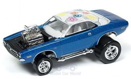 Dodge Challenger 1/64 Johnny Lightning metallise bleue/Dekor 1971 Tuning ohne Vitrine miniature