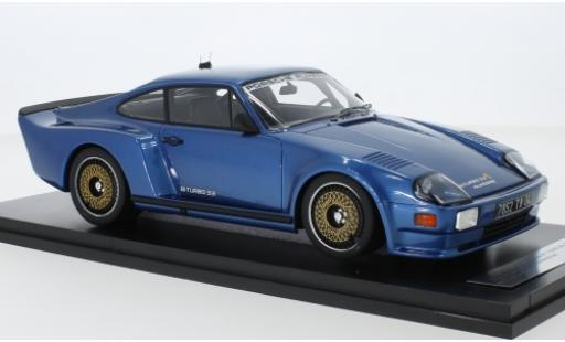 Porsche 993 Turbo 1/18 Kess 911 (930) Biturbo 3.3 Almeras metallise bleue 1 miniature
