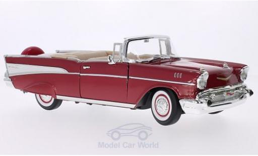Chevrolet Bel Air 1957 1/18 Lucky Die Cast Convertible metallise rouge/blanche miniature