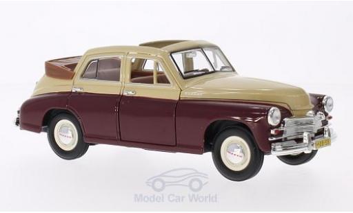 Gaz M20 1/18 Lucky Die Cast GAZ Pobeda Cabrio-Limousine rouge/beige miniature