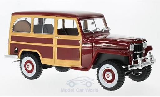 Jeep Willys 1/18 Lucky Die Cast Station Wagon dunkelrojo/Holzoptik 1955 miniatura