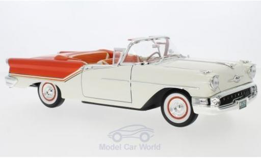 Oldsmobile Super 88 1/18 Lucky Die Cast Convertible blanche/orange 1957 miniature