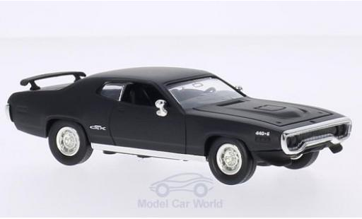 Plymouth GTX 1/43 Lucky Die Cast matt-noire 1971 ohne Vitrine miniature