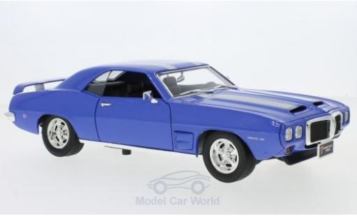 Pontiac Firebird 1969 1/18 Lucky Die Cast Trans Am metallic-bleue/grise 1969 miniature