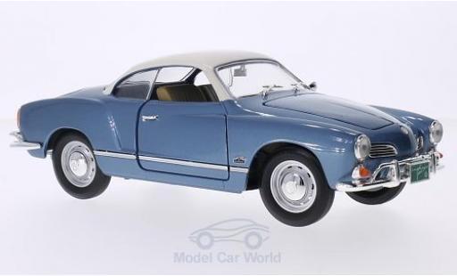Volkswagen Karmann 1/18 Lucky Die Cast Ghia metallic-hellbleue/blanche 1966 miniature