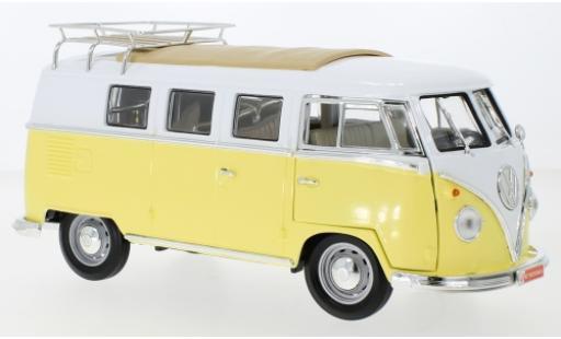 Volkswagen T1 1/18 Lucky Die Cast Kombi jaune/blanche 1962 avec Rack de toit et plinthe miniature