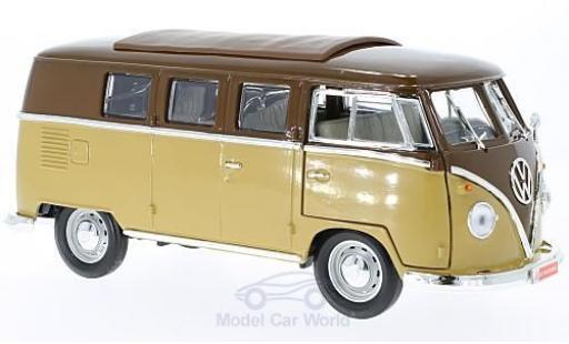 Volkswagen T1 B 1/18 Lucky Die Cast Microbus marron/beige 1962 miniature