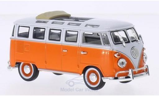 Volkswagen T1 1/43 Lucky Die Cast Samba orange/white 1962 Faltdach geöffnet diecast