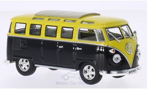Volkswagen T1 B 1/43 Lucky Die Cast Samba schwarz/gelb 1962 Faltdach geschlossen mit Chromstoßstangen und -felgen modellautos