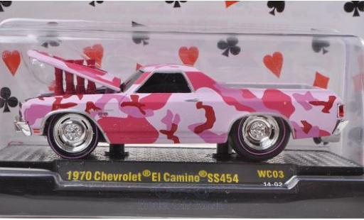 Chevrolet El Camino 1/64 M2 Machines Tuning rouge 1970 Motorhaube mit Funktion Ground Pounders Wild Cards miniature