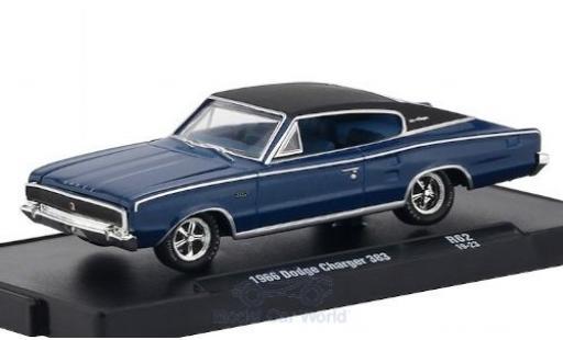 Dodge Charger 1/64 M2 Machines 383 metallise blue/matt-black 1966 diecast model cars