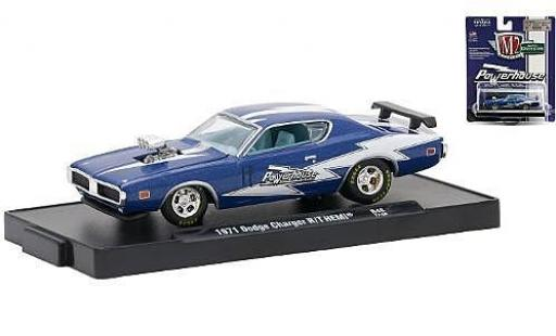 Dodge Charger 1/64 M2 Machines R/T HEMI metallise blue/white Powerhouse 1971 diecast model cars