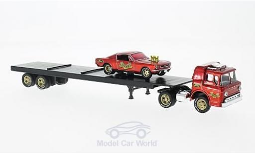 Ford C600 1/64 M2 Machines C-600 metallise rouge 1966 +1966 Mustang Fastback 2+2