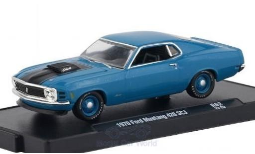 Ford Mustang 1/64 M2 Machines 428 SCJ metallise bleue/matt-noire 1970 miniature