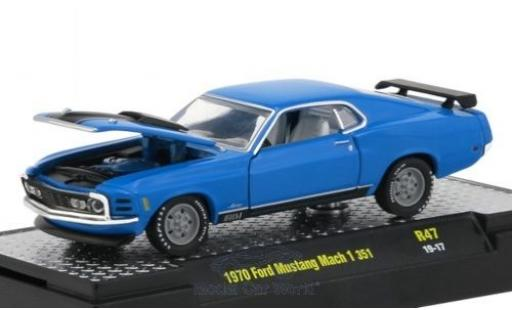 Ford Mustang 1/64 M2 Machines Mach 1 351 bleue/matt-noire 1970 miniature