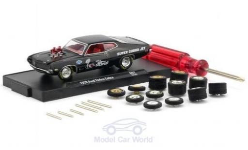 Ford Torino 1/64 M2 Machines Cobra noire 1970 inklusive 12 Austauschrädern 6 Achsen und 1 Schraubenzieher Auto-Wheels Release 06 miniature