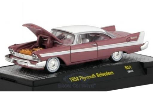 Plymouth Belvedere 1/64 M2 Machines rose/blanche 1958 miniature