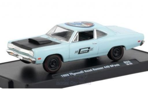 Plymouth Road Runner 1/64 M2 Machines 440 GPack blu/nero 1969 miniatura