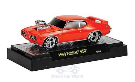 Pontiac GTO 1/64 M2 Machines orange 1969 Motorhaube mit Funktion Ground Pounders diecast