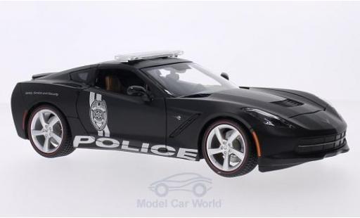 Chevrolet Corvette C7 1/18 Maisto  Stingray matt-noire Police 2014 miniature