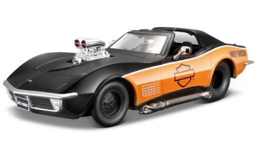 Chevrolet Corvette 1/24 Maisto matt-black/orange Harley-Davidson 1970 diecast model cars