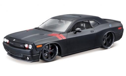 Dodge Challenger 1/24 Maisto SRT8 matt-noire/rouge miniature