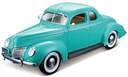 Ford Deluxe 1/18 Maisto Coupe turquoise 1939 miniature