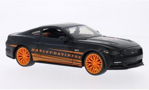 Ford Mustang 1/24 Maisto GT matt-noire/orange Harley-Davidson 2015 miniature