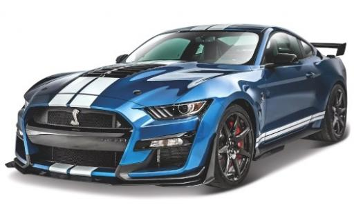 Ford Mustang 1/18 Maisto Shelby GT500 metallise bleue/blanche 2020 miniature